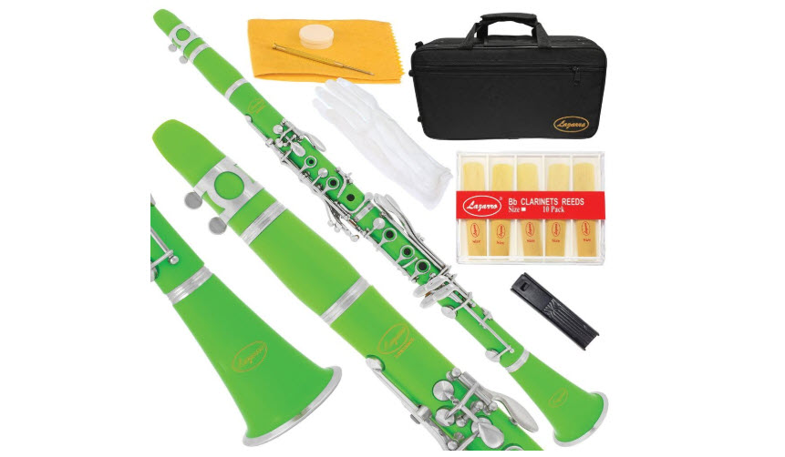 Lazarro 150-GR-L-B-Flat Bb Clarinet Green-Silver Keys with Case