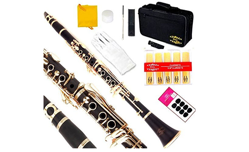 Glory Black/Gold Keys Clarinet B Flat with 2 Barrels