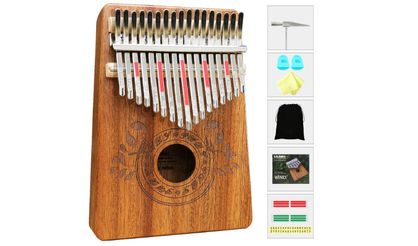 Kalimba 17 Keys Thumb Piano with Study Instruction