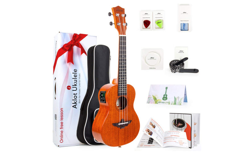 AKLOT Electric Acoustic Concert Ukulele Solid Mahogany 23 Inches