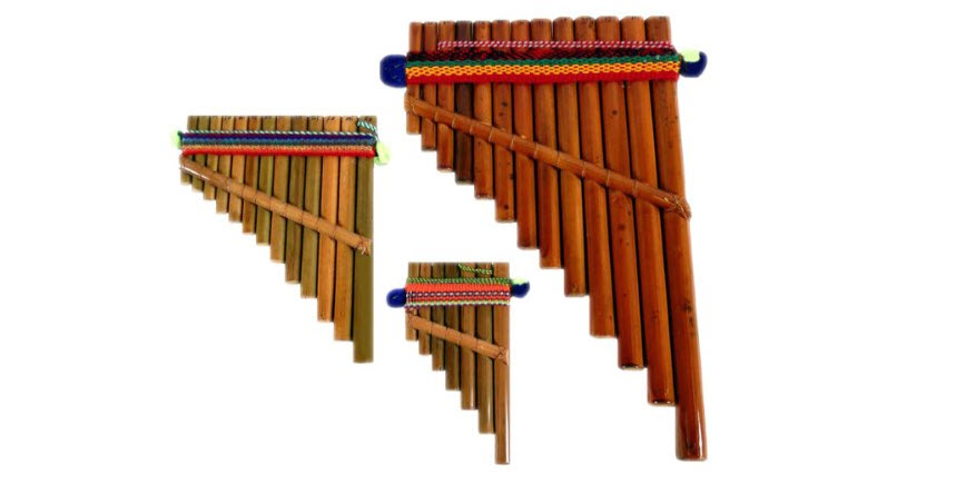 Pan Flute Set of Three Sizes Hand Made in Peru