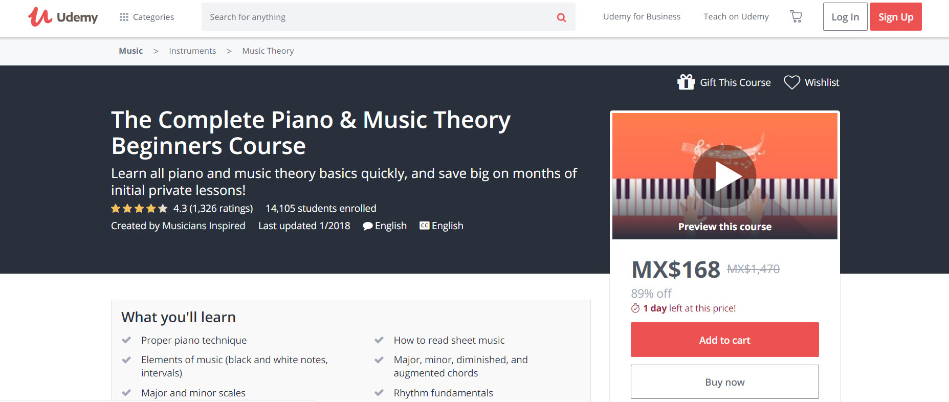 Piano & Music Theory for Beginners Udemy
