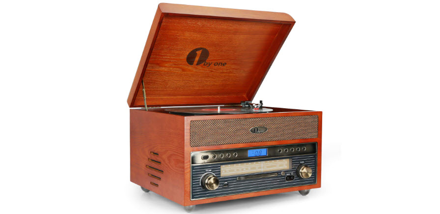 1byone Nostalgic Wooden Turntable Wireless Vinyl Record Player