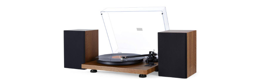 1byone Wireless Turntable Hi-Fi System with 36 Watt Bookshelf Speakers