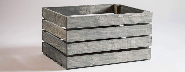 Darla Studio 66 Antique Gray Stained Rustic Wood Crate