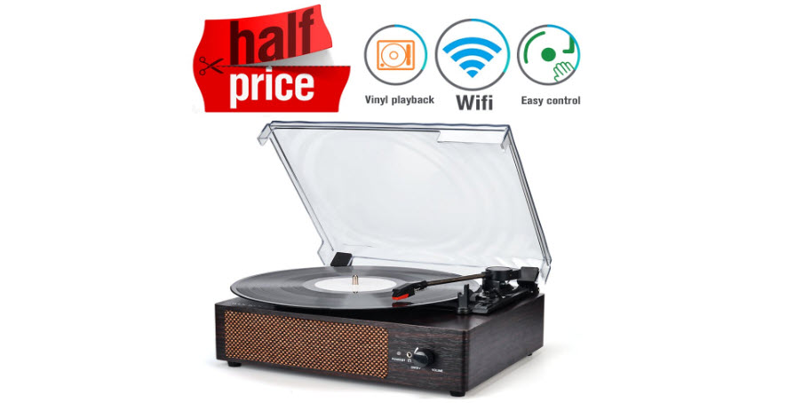 Record Player Portable Wireless LP Belt-Drive 3-Speed Turntable