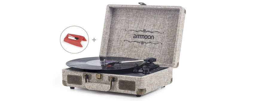 Vinyl Record Player, ammoon 3 Speed Turntable Blue Tooth